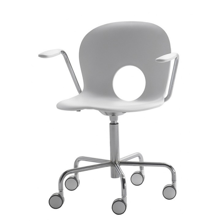 Olivia - Swivel armchair on castors, fixed height